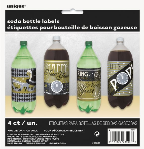 Happy New Year Pop Bottle Labels
